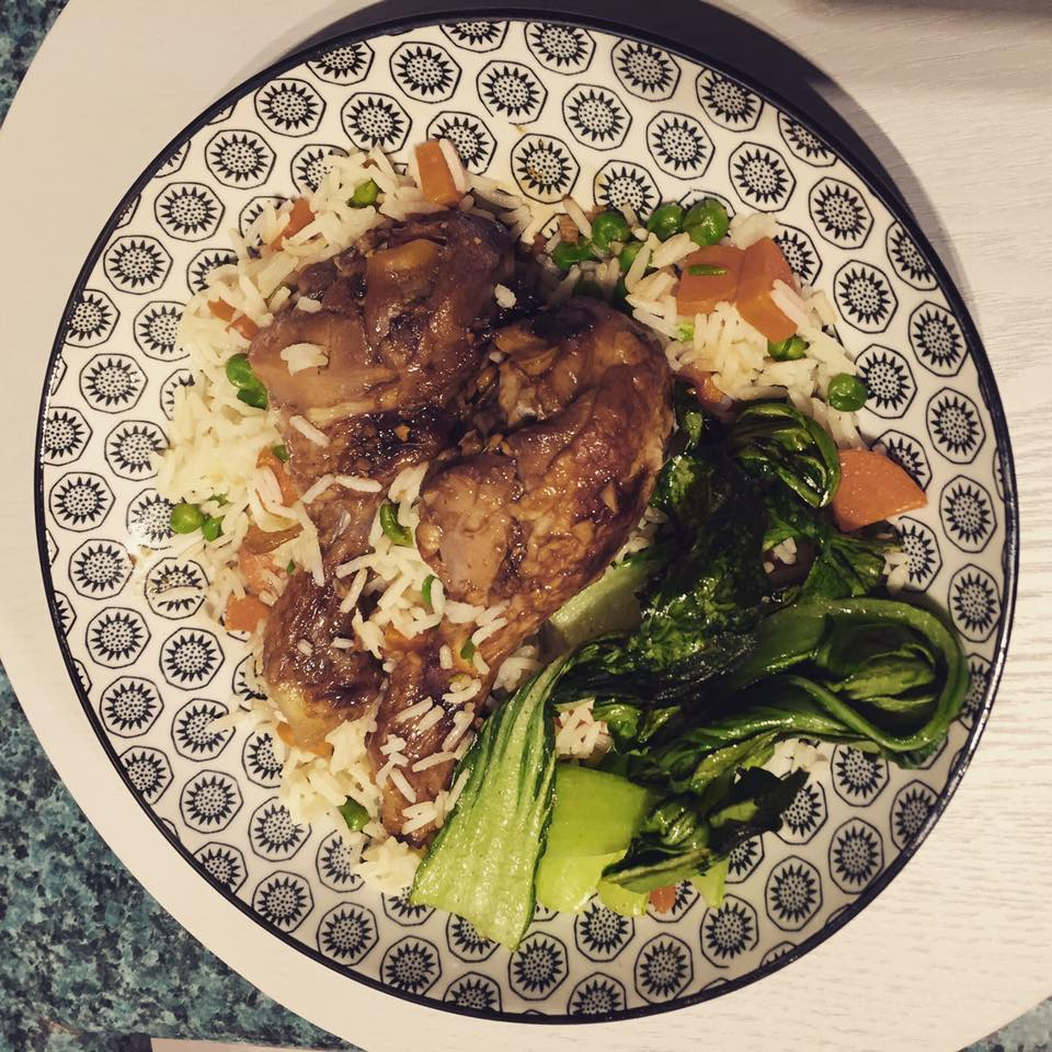 chicken rice and bok choy